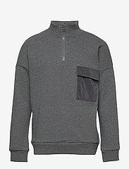 name it - NKMBARALD LS SWEAT UNB - sweatshirts - dark grey melange - 0