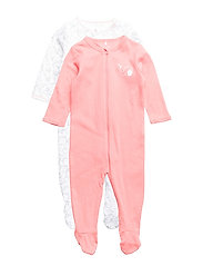 NBFNIGHTSUIT 2P ZIP W/F CORAL NOOS - SUNKIST CORAL
