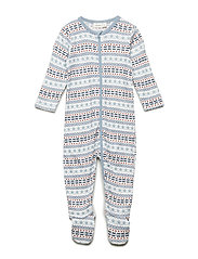 NBMWILLIT WOOL LS NIGHTSUIT WF - SNOW WHITE