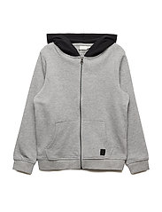 NKMRASTAN LS SWEAT CARD WH BRU - GREY MELANGE