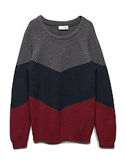 NKMROFIN LS KNIT - DARK GREY MELANGE