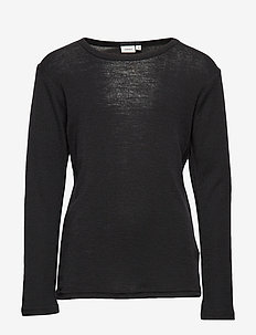 NKMWANG WOOL PLAIN LS TOP XIX - BLACK