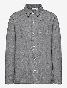 NKMNOVAK LS SHIRT - koszule - dark grey melange