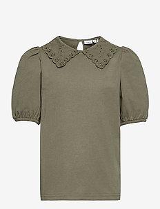NKFHEIDIL SS TOP - t-shirts - deep lichen green