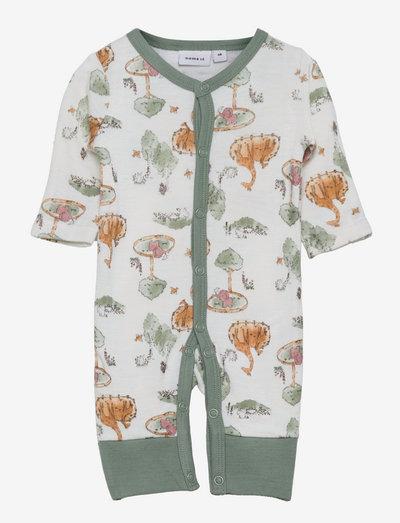 NBMWILLU WOOL LS NIGHTSUIT PRE - pyjamas - snow white