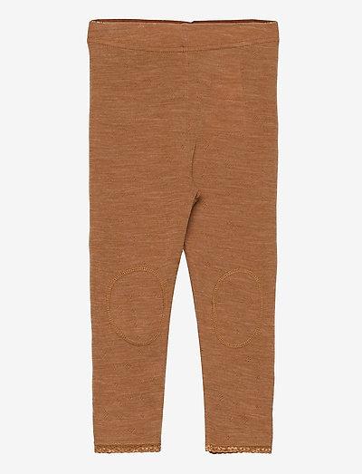NMFWANG WOOL NEEDLE LEGGING - leggings - brown sugar