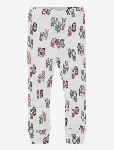 NMMWANG WOOL NEEDLE LONGJOHN - leggings - snow white