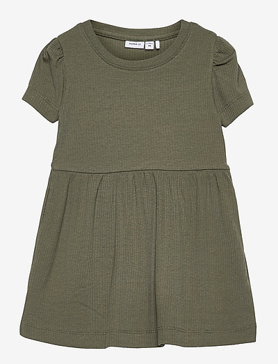 NMFHANILLA SS DRESS - dresses & skirts - deep lichen green