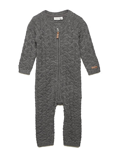 NBMWRILLA WOOL LS KNIT SUIT NOOS - DARK GREY MELANGE