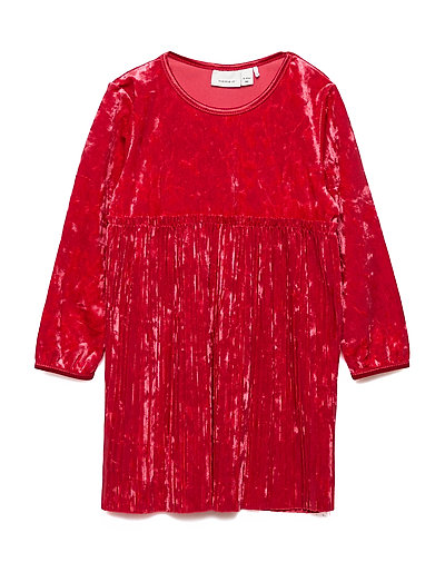 NMFSELINA LS VEL DRESS - JESTER RED