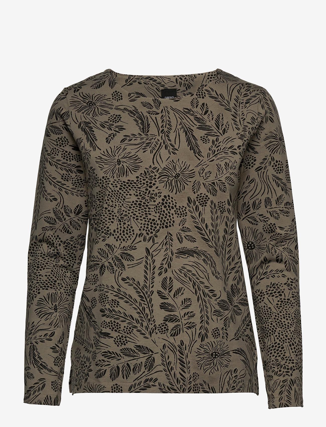 Nanso - Ladies blouse, Floora - pitkähihaiset t-paidat - olive green - 0