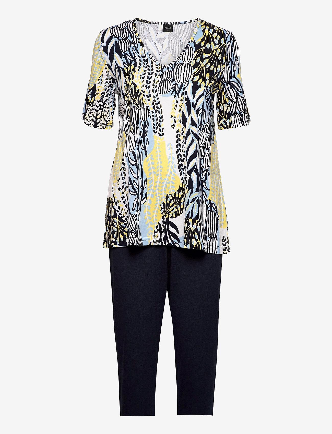 Nanso - Ladies pyjamas, Suurennuslasi - tops - blue - 0