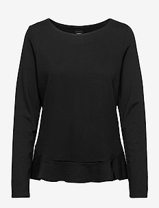 Ladies blouse, Minne - langermede bluser - black