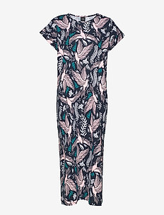 Ladies long nightgown, Paloma - nattlinnen - dark blue