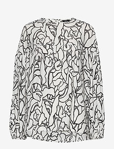 Ladies blouse, Pikku Iiris - bluzki z długimi rękawami - black-white