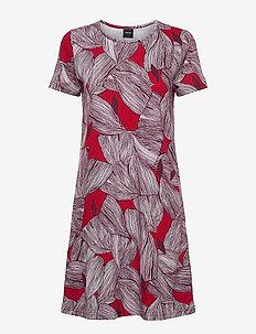 Ladies big shirt, Punos - nattlinnen - red