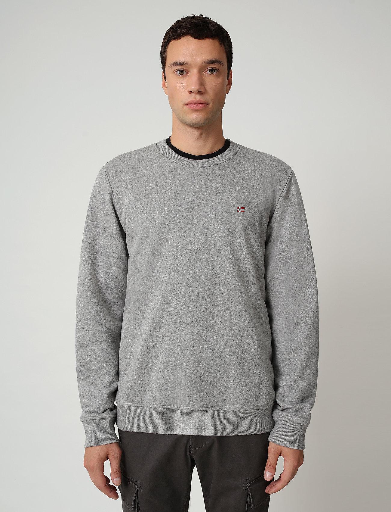 Napapijri - BALIS CREW - tricots basiques - med grey melange - 0