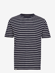 MERINO STRIPED TEE - kortärmade t-shirts - navy