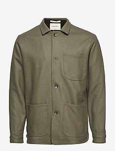WOOL UTILITY JACKET - OFF GREEN