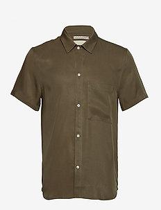 JAPANESE TENCEL SHIRT - kortärmade skjortor - olive