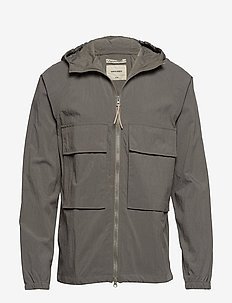 HOODED WINDBRAKER JACKET - OLIVE