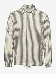 STRIPED HERRINGBONE COACH JACKET - INDIGO
