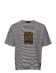 Relaxed Xerox Stripe Tee - BLACK & WHITE STRIPE
