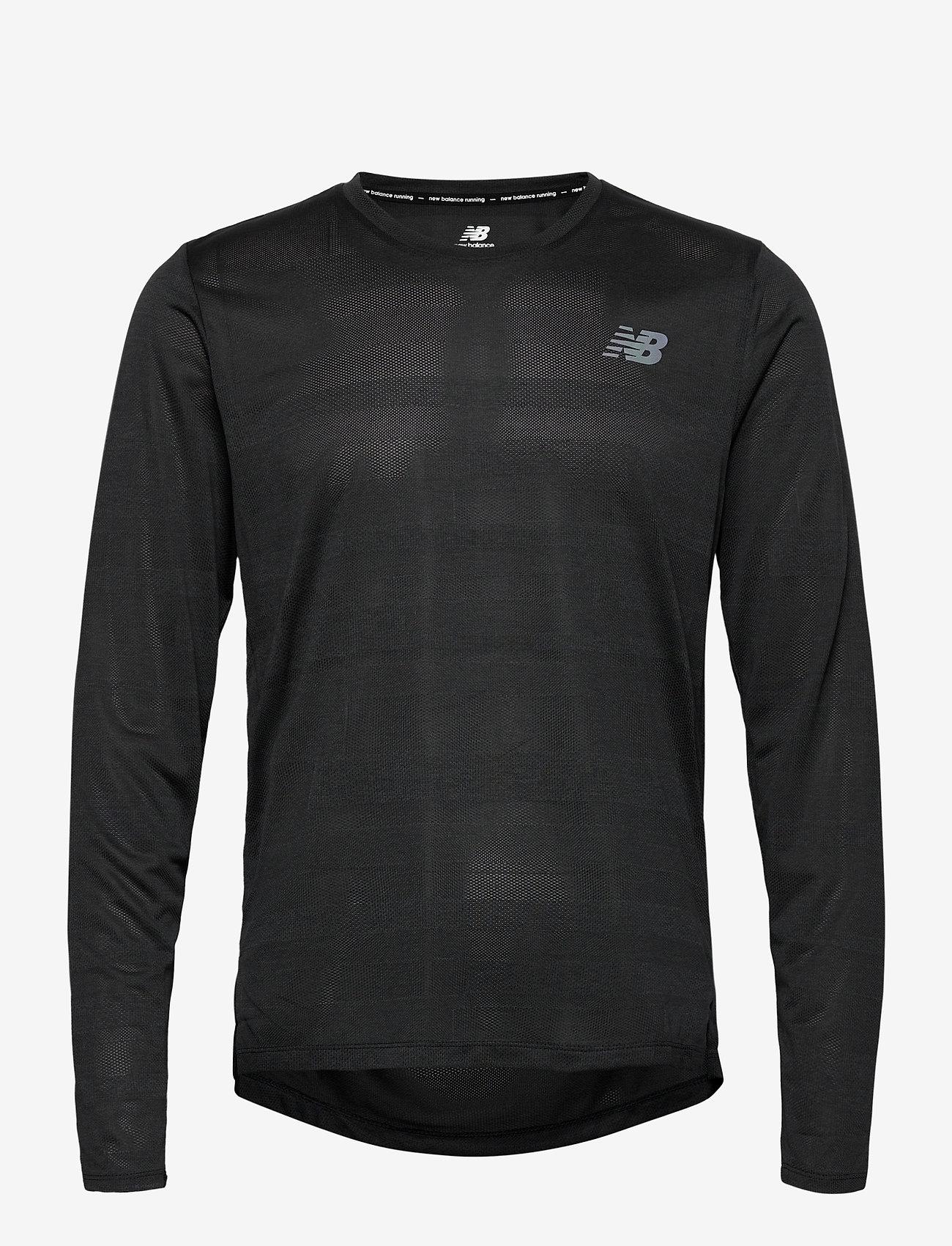 New Balance - Q SPEED FUEL JACQUARD LS - langarmshirts - black heather - 0
