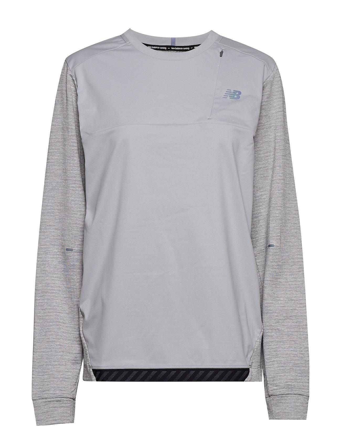 NEW BALANCE Q Speed Run Crew Pullover T-Langärmliges Hemd Grau NEW BALANCE