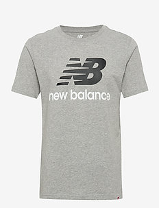 ESSENTIALS STACKED LOGO T - sports tops - athletic gre