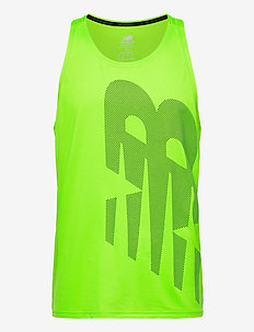 Printed Accelerate Singlet - tank tops - energy lime