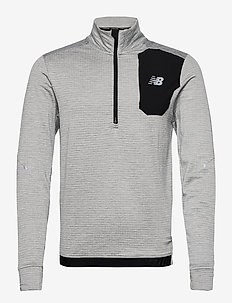 IMPACT RUN GRID BACK HALF ZIP - fleece midlayer - athletic grey