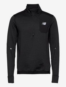Impact Run Grid Back Half Zip - swetry - black