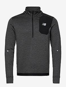 IMPACT RUN GRID BACK HALF ZIP - mittlere lage aus fleece - hthr char