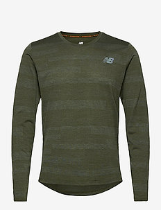 Q SPEED FUEL JACQUARD LS - pitkähihaiset topit - oak green heather
