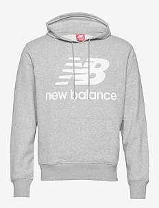 ESSENTIALS STACKED LOGO PO HOODIE - ATHLETIC GRE