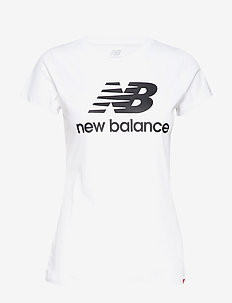 ESSENTIALS STACKED LOGO TEE - t-shirty - white black
