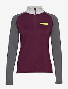 Warm Zip Shirt - BERRY/GREY SHADE/BRIGHT GREY