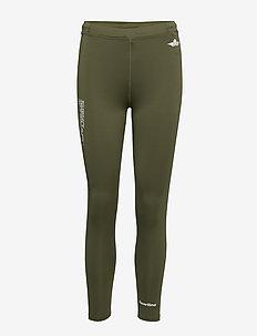 BLACK 7/8 TIGHTS - running & training tights - para green