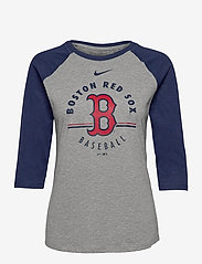 NIKE Fan Gear - Boston Red Sox Nike Encircled Tri-Blend 3/4-Sleeve Raglan - langermede topper - dark grey heather - midnight navy - 0