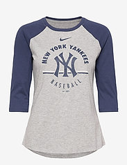 NIKE Fan Gear - New York Yankees Nike Encircled Tri-Blend 3/4-Sleeve - dark grey heather - midnight navy - 0