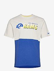 NIKE Fan Gear - Los Angeles Rams Nike Logo Name Colorblock T-Shirt - t-shirts - light bone / hyper royal - 0