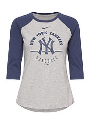New York Yankees Nike Encircled Tri-Blend 3/4-Sleeve - DARK GREY HEATHER - MIDNIGHT NAVY