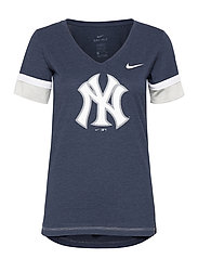 New York Yankees Nike Mesh Logo Fashion Vneck T-Shirt - MIDNIGHT NAVY HEATHER