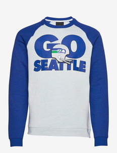 Seattle Seahawks Nike Go Helmet Historic Raglan Sweatshirt - overdeler - field silver / old royal