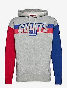 New York Giants Nike Wordmark Long Sleeve Heritage Hoodie - huvtröjor - dark grey heather / rush blue / gym red