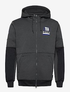 New York Giants Nike Lockup Therma Full Zip Hoodie - huvtröjor - anthracite / black