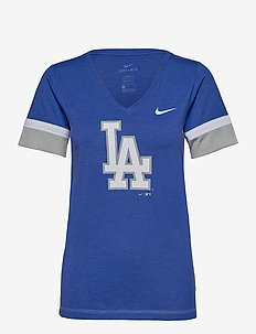 LA Dodgers Nike Mesh Logo Fashion Vneck T-Shirt - t-shirts - rush blue heather