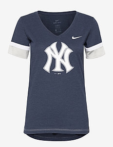 New York Yankees Nike Mesh Logo Fashion Vneck T-Shirt - t-shirts - midnight navy heather