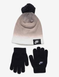 NAN GRADIENT BEANIE/ GLOVE SET - hats & caps - black(white)